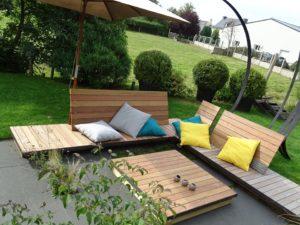 Table et Banc en lames de terrasse Ipé, fixations invisibles, Chantier sur Bégard